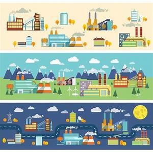 Landscapes with factories Vector | Premium Download