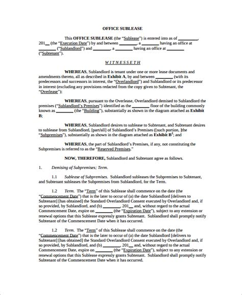 Office Sublease Agreement Template by 10 Office Lease Agreement Templates Sle Templates
