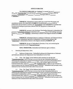 9 office lease agreement templates free sample example With office sublease agreement template