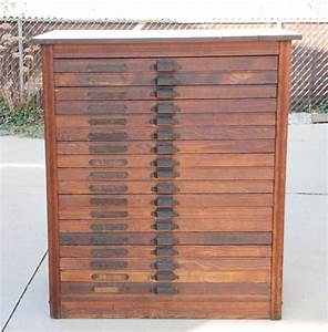 antique oak printer39s typeset case cabinet with 18 drawers With metal typeset letters for sale