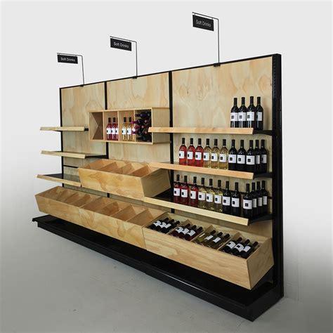 Liquor Store Commercial Wine Racks Wood Gondola Shelving
