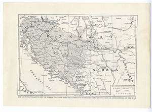 1914 WW1 MAP Balkan States HUNGARY Serbia BOSNIA Under ...