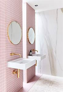 A gorgeous pink tiled bathroom with gold hardware for Interior design pink bathrooms