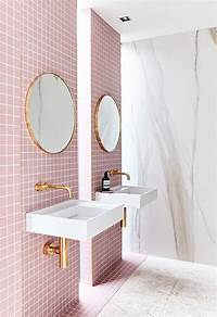 pink bathroom tile A Gorgeous Pink-Tiled Bathroom with Gold Hardware