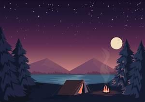Vector Beautiful Camping Illustration