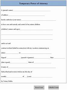 Temporary power of attorney form editable forms for Temporary power of attorney template
