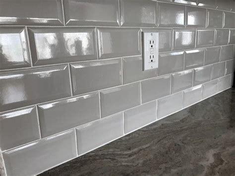 simple clean grey backsplash tile   home kitchen