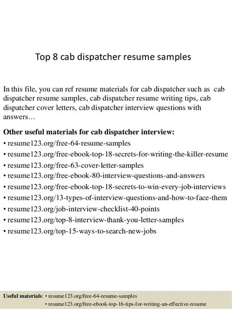 top 8 cab dispatcher resume sles