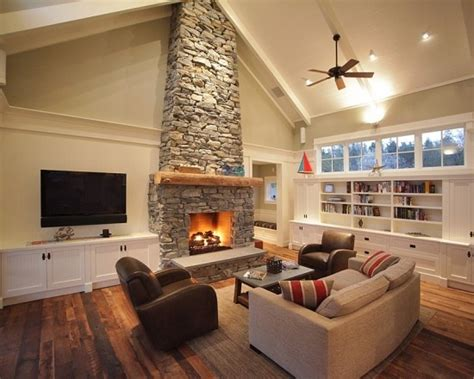 Tv Mounted Next To Stone Fireplace. Ideas If House Has