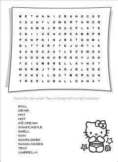 Summer vocabulary for kids learning English | Printable