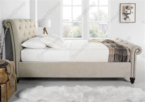 king size memory foam mattress kaydian belford oatmeal upholstered sleigh bed