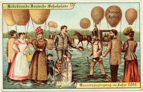 100년전 엽서에 그려진 100년후 미래인 2000년 상상화
