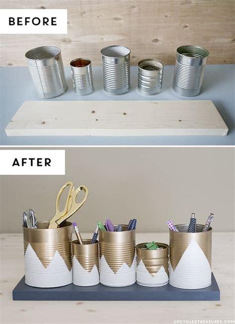 bureau sympa upcycled tin can organizer bureaux de cuisine crayons