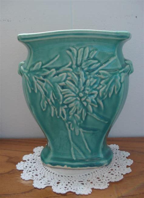 antique  mccoy aqua turquoise green vase ceramic