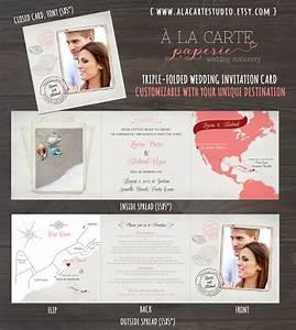 coral sand destination wedding invitation tri fold With destination wedding invitations dominican republic