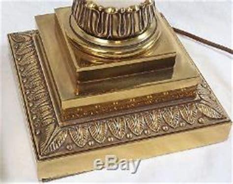 stiffel neoclassical column brass table ls pair vintage