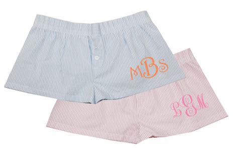Monogrammed Seersucker Boxer Shorts For Bridal, Bridesmaid