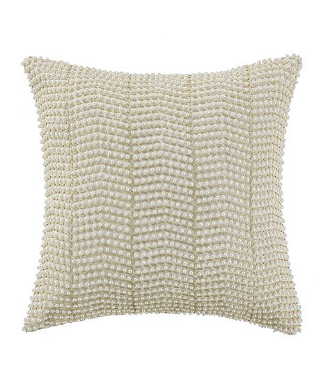 waterford britt faux pearl bugle beaded square pillow dillards