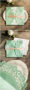 affordable mint and peach ribbon laser cut wedding invites With laser cut wedding invitations minted