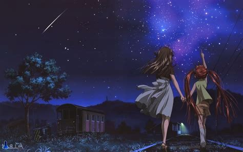 anime night stars shooting stars air anime