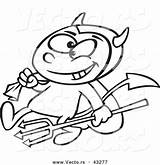Devil Outline Coloring Cartoon Candy Boy Sack Pitchfork Vector Carrying Toonaday sketch template