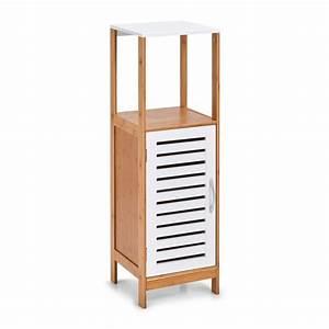 Armoire Salle De Bain Bois : armoire salle de bains colonne bois blanc bambou zeller 18868 ~ Melissatoandfro.com Idées de Décoration