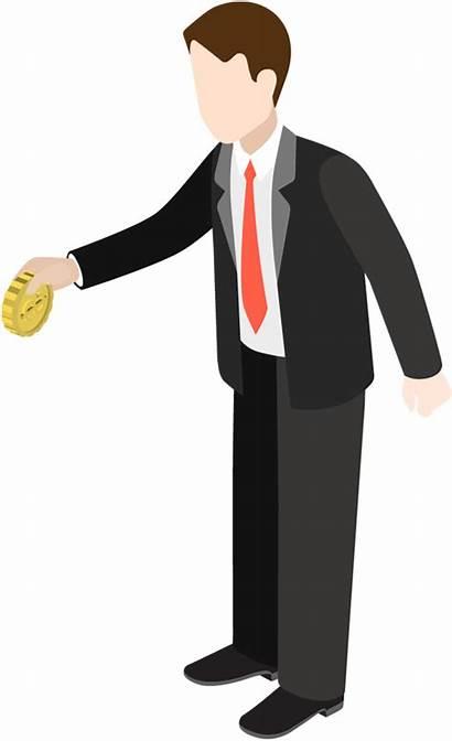Cartoon Businessman Holding Gold Business Coin