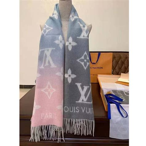 louis vuitton lv women reykjavik gradient cashmere scarf  iconic monogram blue lulux