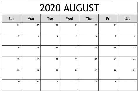printable editable calendar august  month