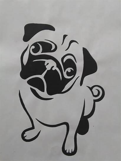 Stencil Dog Pug Cake