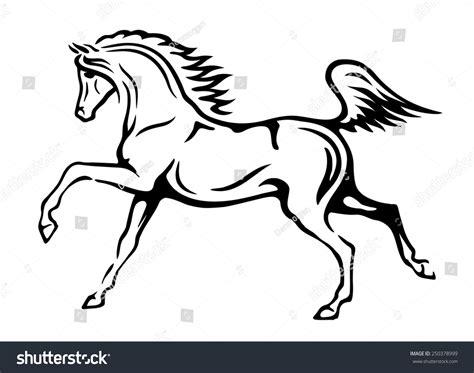 black white vector outlines arabian horse stock vector
