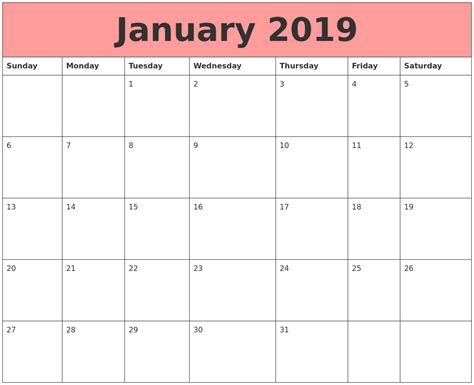January 2019 Calendars That Work