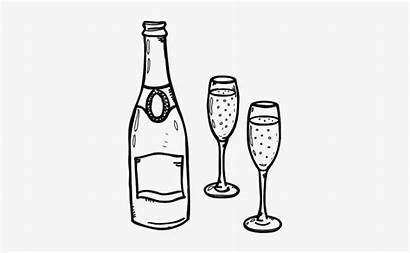Champagne Drawing Bottle Copa Vino Colorear Para