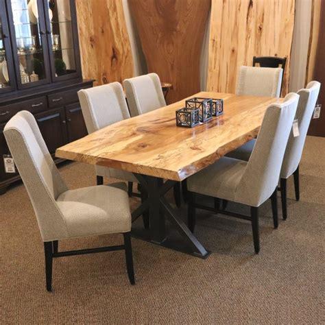 spalted sycamore  edge slab table set single slab