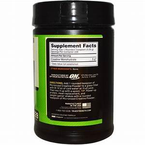 Optimum Nutrition  Micronized Creatine Powder  Unflavored  2 64 Lb  1 2 Kg