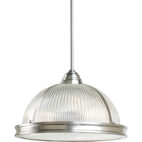 3 light brushed nickel fluorescent pendant
