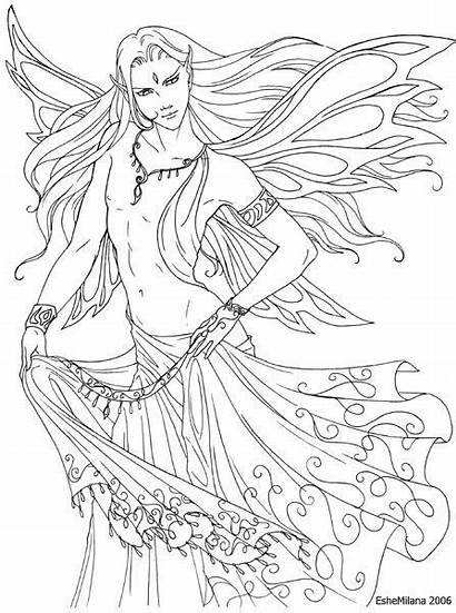 Male Deviantart Faery Lineart Coloring Fairy Adults