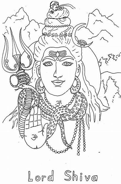 Shiva Pencil Coloring Pages Sketch Lord Shri