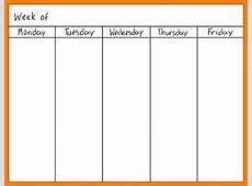 Blank weekly calendar one week template templates