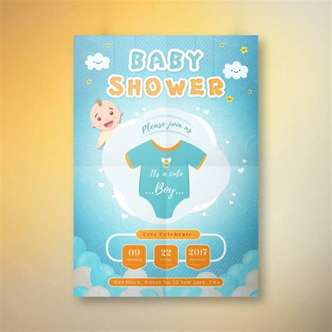 boy baby shower invitation card template