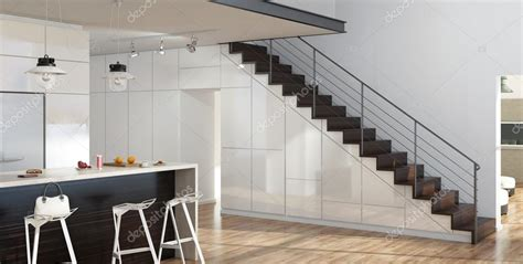 cuisine mobalpa 3d modern salon intérieur avec cuisine et escalier photo