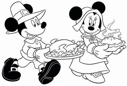 Mickey Minnie Coloring Pages Thanksgiving Mouse Printable