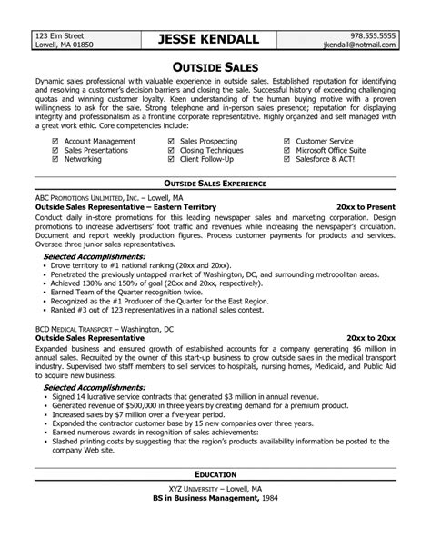 Sales Resume by Outside Sales Resume Template Learnhowtoloseweight Net
