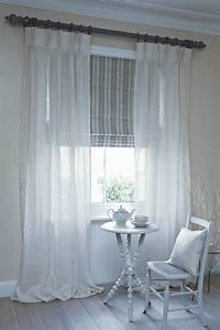 Dublin roman blind with clare voile curtains on pole for Curtains that look like roman shades