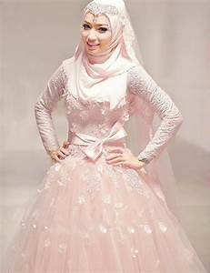 sexy high neck floor length long sleeve blush pink muslim With long sleeve pink wedding dresses