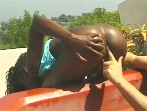 Feisty Black Slut Fucks Big White Cock In A Pool Outdoor