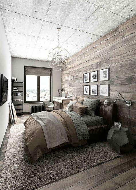 chambre chaude chambre masculine naturelle avec bois et couleur chaude
