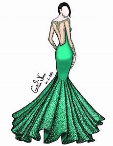 Drawn gown fashion drawing - Pencil and in color drawn ...