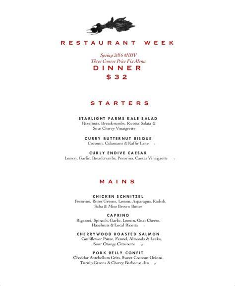 sample weekly menu   ms word