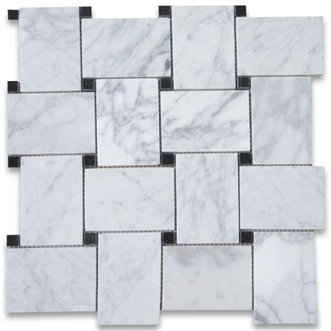 carrara marble mosaic tile carrara white large basketweave mosaic tile w black dots